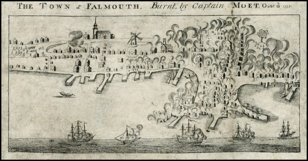 The Town of Falmouth, Burnt by Captain Moet, October 18, 1775. John Norman, 1782.