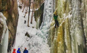 Ice climbers. Champney Falls, Mount Chocorua, New Hampshire.